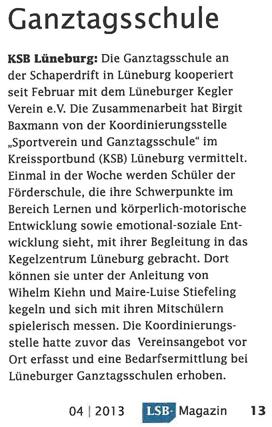Artikel LSB-Magazin Kooperation Kegelverein