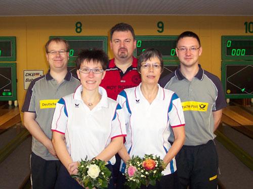 Meister in den Paarwettbewerben v.l. Henrik Kiehn, Claudia Bartels, Stefan Gieseking, Marie-Luise Stiefeling, Marcel Dubbe