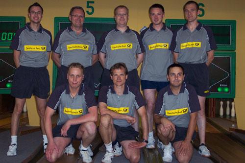 KSG Lüneburg I h. v. l. Michael Duda, Joachim Müller, Henrik Kiehn, Marcel Dubbe, Thomas Zelder v. v. l. Nico Zotzmann, Matthias Meyer, Ralf Stelter