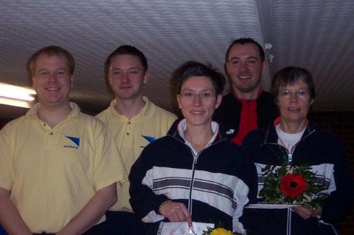 Kreismeister in den Paarwettbewerben v. l. Henrik Kiehn, Marcel Dubbe, Claudia Bartels, Mathias Stiefeling, Marie-Luise Stiefeling