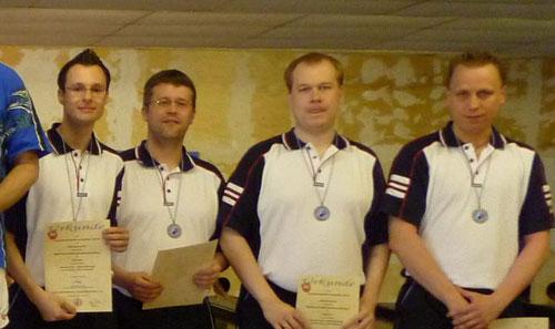 Sensationelle Bronzemedaille für Lüneburgs Dreibahnenmannschaft v. l. Michael Duda, Stefan Gehringer, Henrik Kiehn, Nico Zotzmann